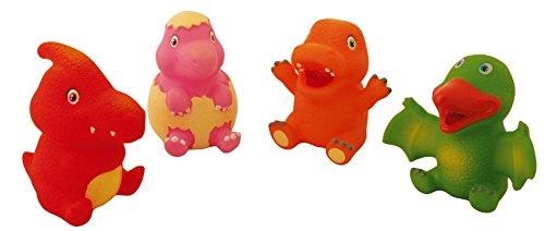 DAM Jouets de Bain pour bébé et Petite Fille DAMWaterworld : Dinosaurs 8 cm, 4 squirters in a Stow Bag with a Mesh Bottom, Allowing The Water to Leak Away, 4 m+, Multicolore (Plus d'une)