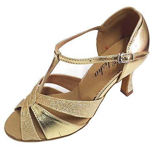 Chaussures de danse latine salsa pour femme 7,6 cm talon évasé bout ouvert semelle souple Doré, or (doré), 38.5 EU