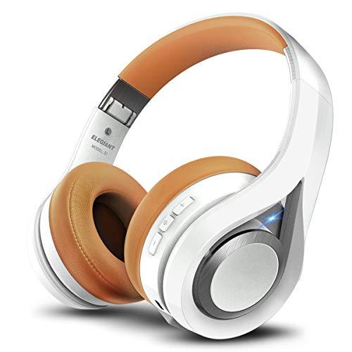 ELEGIANT Cascos Bluetooth Inalámbricos, Auriculares Bluetooth Diadema con Micrófono CVC 6.0 Cancelación Ruido Manos Libre Sonido Nítido Estéreo 16H de Duración para TV Móviles iOS Android, Blanco