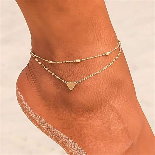 WEIYYY Tobillera con Colgante de Cadena 2021 Summer Beach Foot Jewelry Tobilleras de Estilo de Moda para Mujeres, F148,1