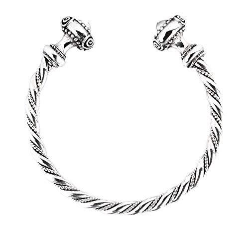 Windalf Handmade Celtic Armreif Frauen NARISCA Ø 5.5 cm Latènezeit Mediaval-Schmuck Kelten-Silber-Schmuck Handgeschmiedet 925 Sterlingsilber