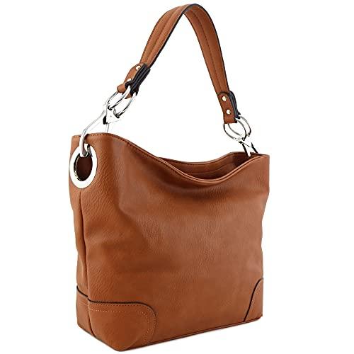 "15""(W) x 10.5""(H) x 5""(D) Zipper closure Detachable strap with 9"" drop Faux leather & silver tone hardware 2 zipper pockets & 2 open pockets inside"