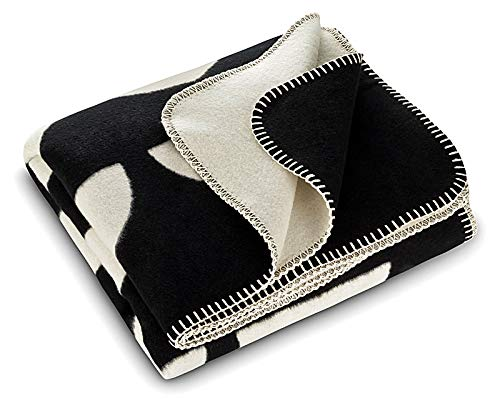 RIEMA Kuscheldecke aus Bio-Baumwolle - kuschelig weiche Sofadecke in schwarz-beige mit Halbkreisen - Oeko-TEX zertifizierte Baumwolldecke für alle 4 Jahreszeiten 150x200cm