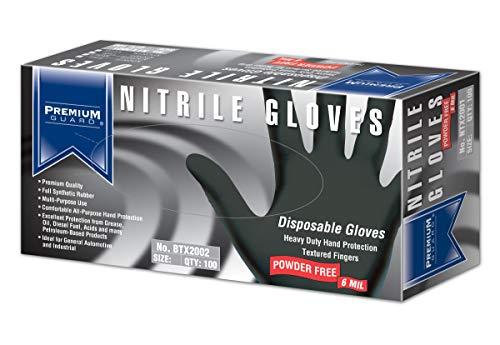 Premium Guard - Nitrile Gloves - Disposable, Powder Free, Latex Rubber Free, 5 mil, Black Nitrile Gloves, 100 gloves per Box, Size - XL