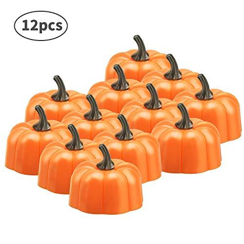 12 candele scaldavivande LED 3D a forma di zucca, candele luminose a forma di zucca, decorazione per Natale, Ringraziamento, festa, bar
