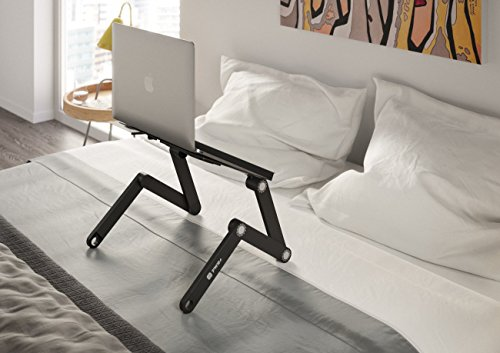 Portable Laptop-Table-Stand with Mouse Pad Fully Adjustable-Ergonomic Mount-Ultrabook-MacBook Light Weight Aluminum-Black Bed Tray Desk Fans Up to 17 Photo #5