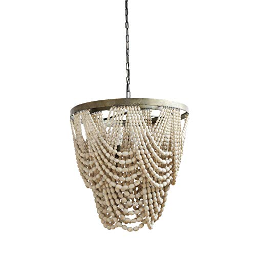 Beaded Chandelier Rustic Farmhouse Boho Light Fixture with Wooden Beads - 2-Tier Draped Bead Chandelier