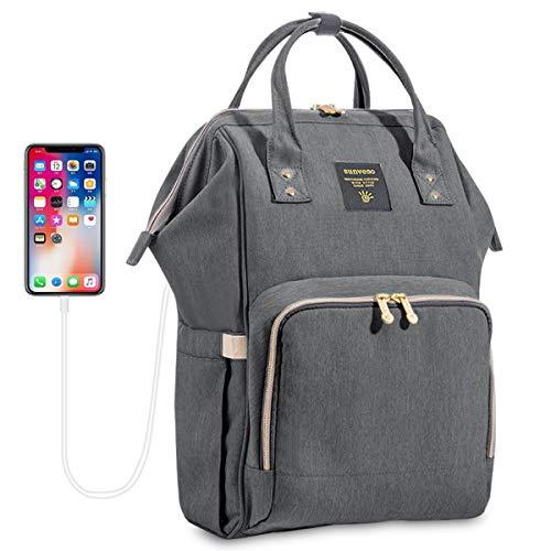 SUNVENO Große Baby Wickeltasche Rucksack, Wickelrucksack Wasserdicht mit 16 Taschen Inklusive 3 Milchisolierungstaschen, Baby Windelrucksack mit USB-Anschluss und Freiem Kabel (Grau)