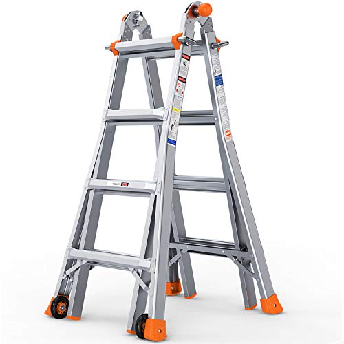 OT QOMOTOP 17 FT Multi Use Telescoping Ladder for Home, Easy to Move Rv Aluminum Extension Ladder...