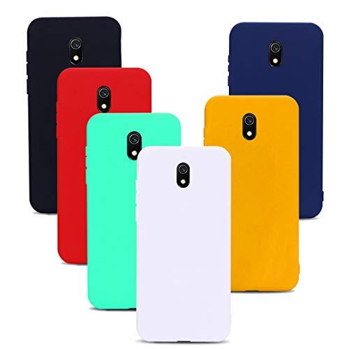 Frofine 6 Stücke Hülle für Xiaomi Redmi 8A, Ultra Dünn Tasche Weiche TPU Silikon Gel Handyhülle Schutzhülle Etui Anti-stoß Kratzfeste Hülle Cover- Schwarz + Gelb + Blau + Rot + Weiß + Marine