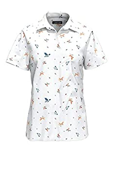 Lands  End Womens No Iron Supima Cotton Short Sleeve Shirt Springtime Birds Regular 18