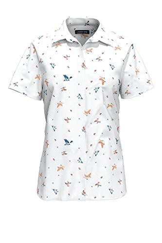 Lands' End Womens No Iron Supima Cotton Short Sleeve Shirt Springtime Birds Plus 26w