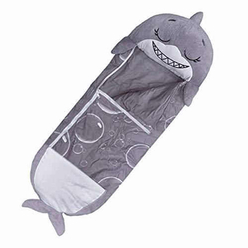 Happy Nappers Schlafsäcke für Kinder, Hai-Schlafsack, super weich, 2-in-1, lustiges Kissen und Schlafkissen für Jungen, (grau, 140 x 50 cm)