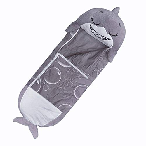 Happy Nappers Saco de dormir para niños, saco de dormir de tiburón, súper suave 2 en 1, almohada divertida y dormir para niños, (gris, 140 x 50 cm)