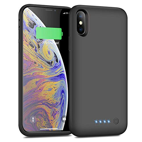 Battery Case for iPhone X/XS 6500mAh,Yacikos Portable Protective Charger Case Rechargeable Extended Battery Pack Charging Case for iPhone X/XS/10 (5.8 inch) Backup Cover Power Bank - Deep grey