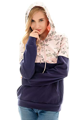 Bearsland Women's Colorblock Maternity Sporty Hoodie Breastfeeding Shirt Nursing Sweatshirt,pinkflower,XL