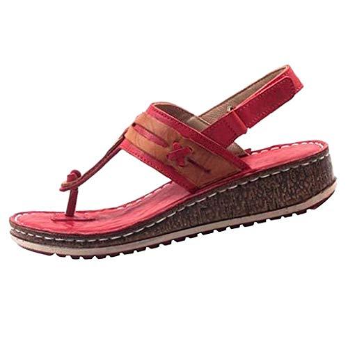 Lenfesh Damen Sandalen Sommer Flache Zehentrenner Sandalen Sommerschuhe Flip Flops Antirutsch Sommer aushöhlen Keil Schnalle Sandalen Freizeitschuhe für Frauen