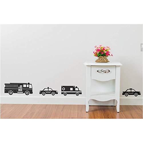 Xxscz Noodvoertuigen Muurstickers Auto's Stickers Ambulance School Bus Taxi Vuurwagen Muursticker Little Boy Kids Room Decor
