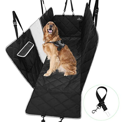 PHILORN Hondendeken Auto met Kijkvenster, Waterdicht Krasbestendig Antislip Hond Auto Stoelhoezen, Autodeken Hond, Honden Beschermhoes Voor Autokleed Achterbank met Zijflappen Deurbescherming