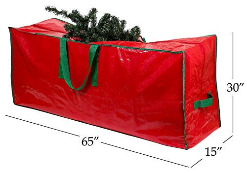 red artificial Christmas tree bag with a branch sticking out.  Fireplace behind bag.