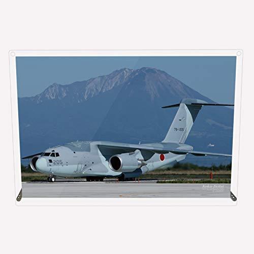 CuVery アクリル プレート 写真 航空自衛隊 輸送機 C-2 美保基地 大山 デザイン スタンド 壁掛け 両用 約A3サイズ
