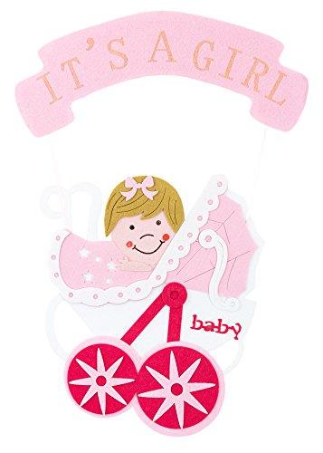 Baby Shower Party Dekoration - Wandbild It´s a girl - 54 x 32 cm Rosa - Türdeko Wandschmuck Feier Geburt Mädchen