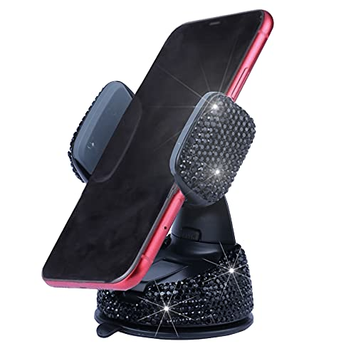 Amiss Universal Bling Cell Phone Holder, 360°Adjustable Car Phone Mount with One More Air Vent Base, Crystal Car Interior Decoration, for Windshield, Dashboard and Air Vent (Black)