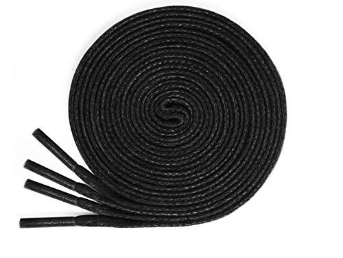 lorpops Flache gewachste Baumwollschnürsenkel Schnürsenkel für Abendschuhe Lederstiefel [2 Paar] 1/4