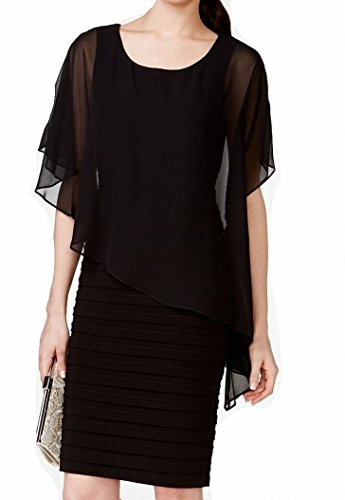 B&A by Betsy and Adam Womens Jersey Capelet Cocktail Dress Black 6