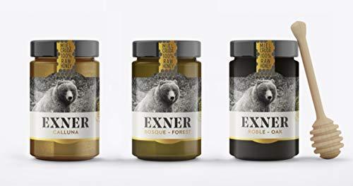 EXNER Miel Cruda 100{0e1b0a7f45bd669eea8af2cf39cc46dbdb564ea459caa4ae6a9d200c2cbb5006} Raw Honey Artesana - 3 variedades CALLUNA (420 gr), ROBLE (450 gr) y BOSQUE (450 gr) - Naturaleza y Montaña, Pura, Sin filtrar, Sin pasteurizar, Sin gluten