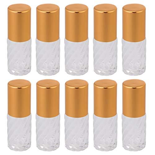 Milisten 10pcs Roller Flaschen ätherische Öle Flaschen Mini 5ml Roll On Flasche Glas Parfüm-Roller Flüssigkeitsspender mit Roller Ball für Kosmetik Öl Aromatherapie Zuhause Reise