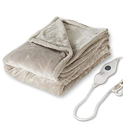 """Tefici Electric Heated Blanket Throw with 3 Heating Levels & 4 Hours Auto Off,Super Cozy Soft Heated Throw with Fast Heating and Machine Washable,Home Office Use,50"""" x 60"""" Camel by Tefici"""