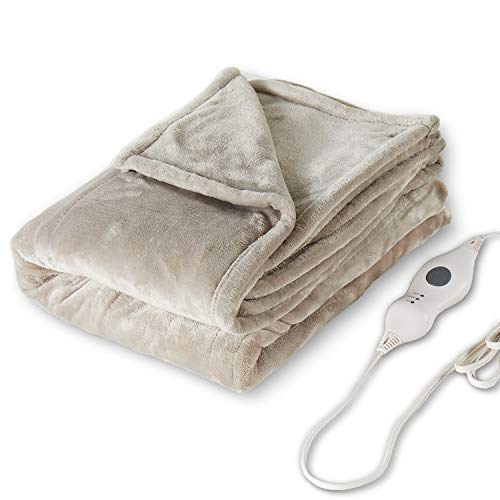 """Tefici Electric Heated Blanket Throw with 3 Heating Levels & 4 Hours Auto Off,Super Cozy Soft Heated Throw with Fast Heating and Machine Washable,Home Office Use,50"""" x 60"""" Camel"""