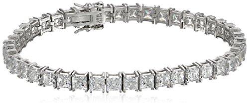Amazon Collection Platinum Plated Silver Princess-Cut Tennis Bracelet made with Swarovski Zirconia (5mm), 7.25