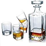 HaoLi Set di 5 Bicchieri da Whisky, Inclusi 4 Bicchieri da Whisky in Cristallo Senza Piombo, Adatti per Gli intenditori di Famiglie, ristoranti e Feste