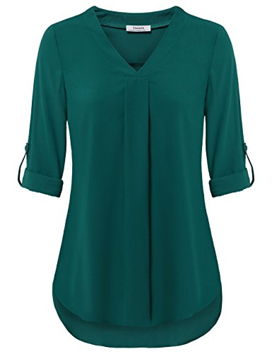 Youtalia Long Sleeve Tops for Women, Womens Casual Loose Cute V Neck Chiffon Blouse Solid Color Pleated Flowy Tunic Shirts for Party (X-Large, Dark Cyan)