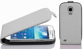 Cadorabo Funda para Samsung Galaxy S4 Mini in Blanco MAGNESIO - Cubierta Proteccíon Estilo Flip de Cuero Sintético Estructuro - Etui Case Cover Carcasa