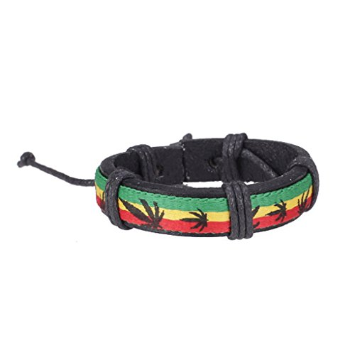 Kustleder Armband Armband Jamaika Reggae Hip Hop Stil w / Hanfblätter