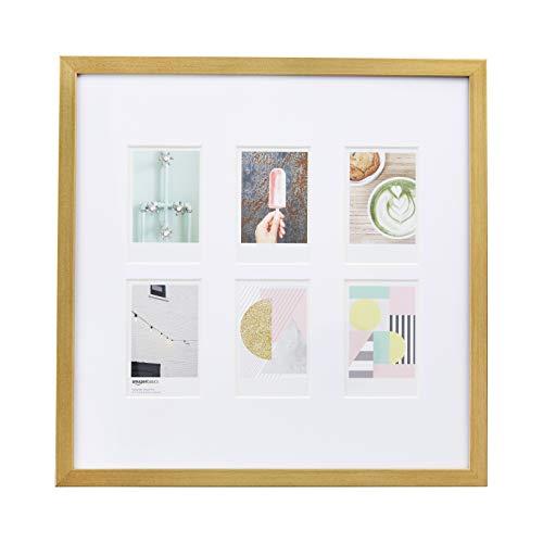 AmazonBasics Bilderrahmen für die Verwendung mit Instax-Sofortbildern, für 6 Bilder, 8 x 5 cm, Messingfarben