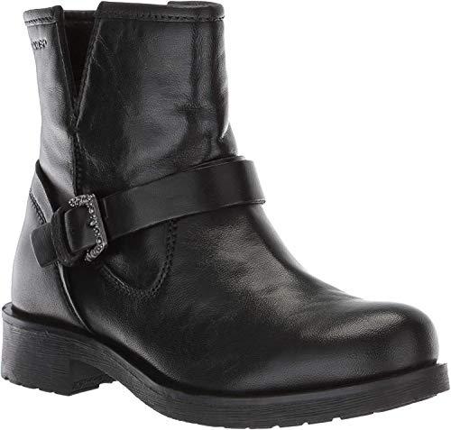Geox Damen Rawelle 1 Buckle Biker Boot Stiefelette, schwarz, 38 EU
