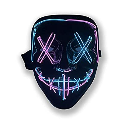 Halloween Purge Mask Light Up Scary Mask EL Wire LED Mask for Festival Party Gifts (Blue-Pink) by