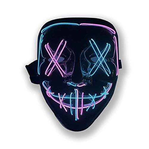 Halloween Purge Mask Light Up Scary Mask EL Wire LED Mask for Festival Party Gifts (Blue-Pink)
