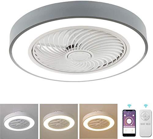 Lámpara de techo Los ventiladores de techo con lámparas, luz de techo moderna minimalista con ventilador con mando a distancia regular lámparas de techo en casa habitación den restaurante LED,Gris