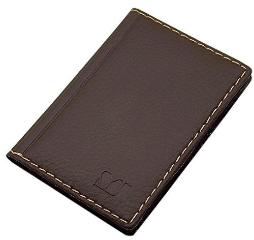 MJ-Design-Germany - Elegante custodia per carte di credito e biglietti da visita con cuciture a contrasto, 12 scomparti, prodotta in UE Marrone Design 2 / marrone.