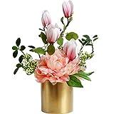Kelly' Harvest House Magnolia Artificial y peonía en Maceta de cerámica de 33 cm, Planta en Maceta con Flores de Seda Flor Artificial Planta Artificial (Color : A)