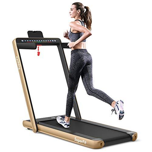 Goplus 2 in 1 Folding Treadmill with Dual Display, 2.25HP...