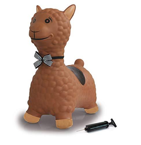 Jamara- Caballito Saltador Lama Rosa con Bomba, hasta 50 kg, favorece el Sentido del Equilibrio y Las Habilidades motrices, Robusto y Resistente, fácil de Limpiar, Color marrón (460542)