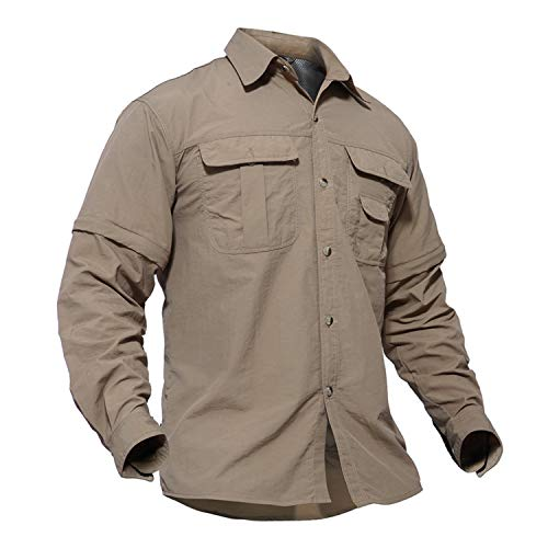 TACVASEN Mens Solid Convertible Zipper Sleeve Tactical Short Long Sleeve Shirt Khaki, US L/Tag 2XL