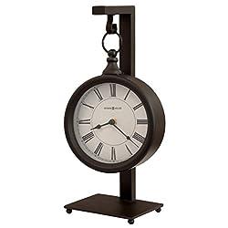 Howard Miller Loman Mantel Clock 635-200 – Metal Antique Black Finished, Rustic Clock Hangs on 14.25-inch Stand, Distressed Black Roman Numerals, Quartz Movement