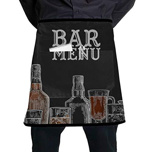 Yushg Kellnerin-Schutzblech-Farbschablonen-Barkarte-Alkohol-Getränk-Flasche Kellnerin-Schutzblech für Mädchen mit der großen Tasche Unisex für die Küche, die BBQ-Zeichnung in Handarbeit Macht